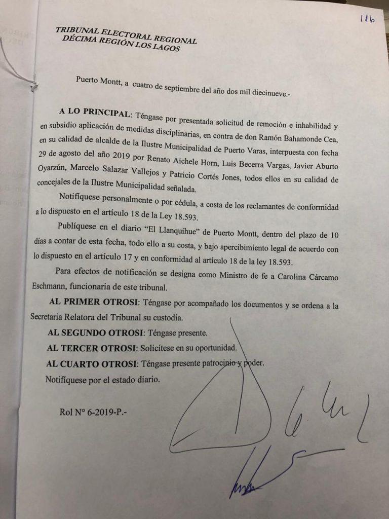 Notificación del Tribunal Electoral Regional de Los Lagos - Diario Puerto Varas